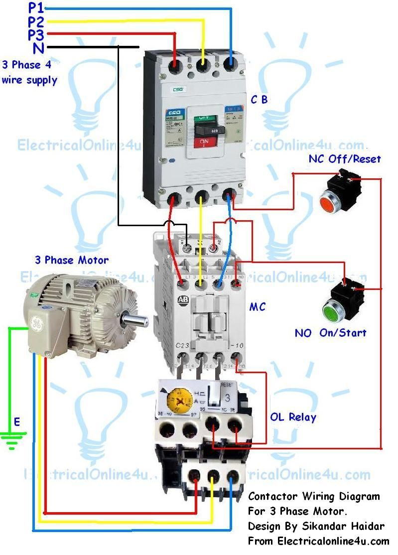 3 phase contactor wiring diagram start stop Download-Contactor Wiring Guide For 3 Phase Motor With Circuit Breaker Overload Relay NC NO Switches 3-f