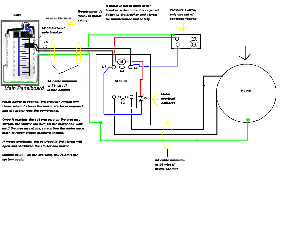 air compressor motor starter wiring diagram Collection-air pressor wiring diagram 230v 1 phase 5-d