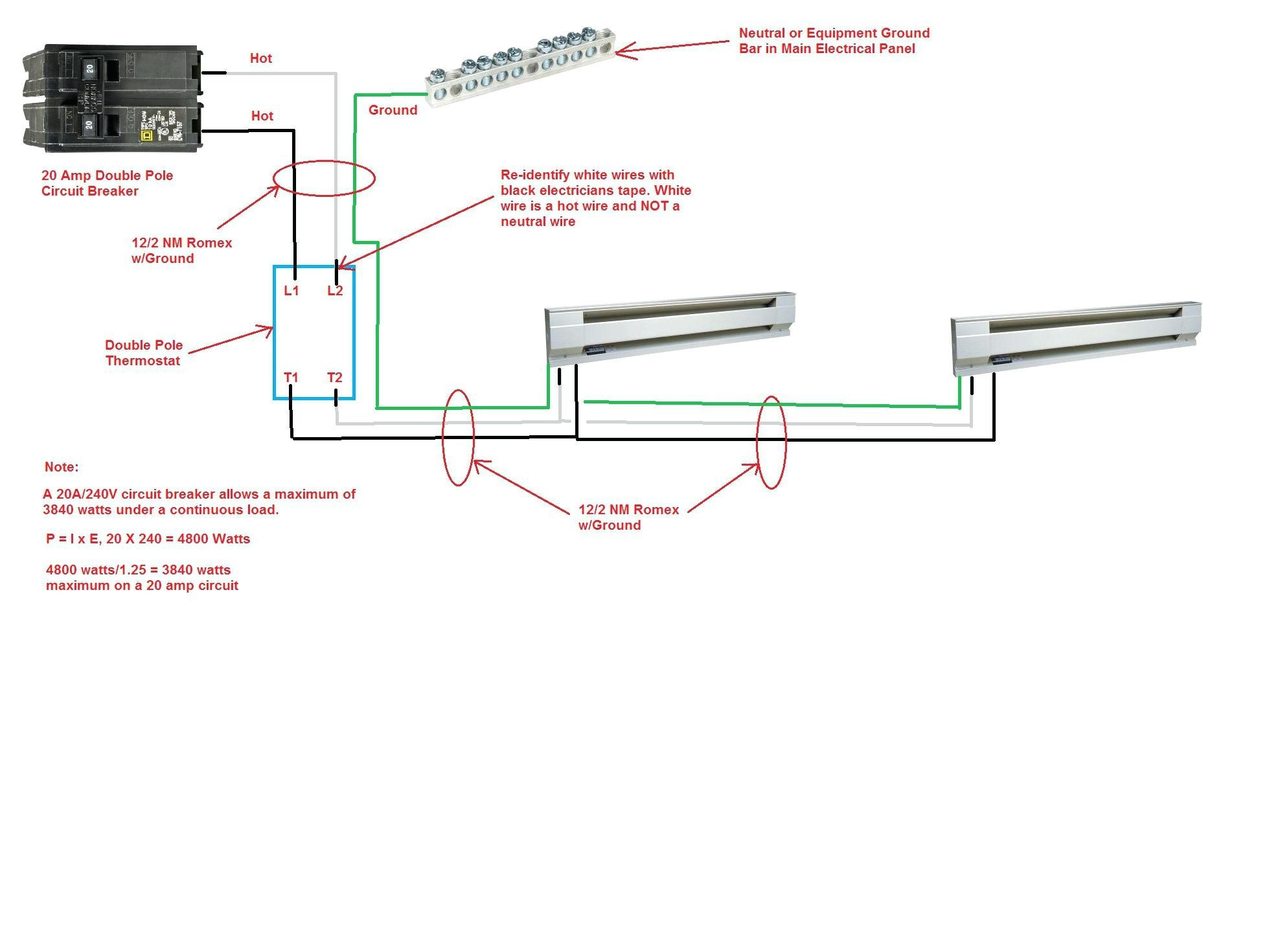 Diagram Gallery Of Baseboard Heater Thermostat Wiring Diagram Sample