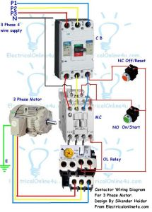Electrical Contactor Wiring Diagram - Contactor Wiring Guide for 3 Phase Motor with Circuit Breaker Overload Relay Nc No Switches 4i