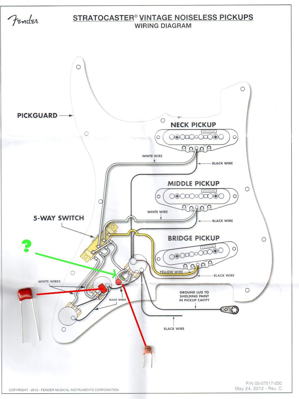 fender vintage noiseless pickups wiring diagram Collection-fender vintage noiseless pickups wiring diagram Unique Amazing Wiring Diagrams For Fender Classic 50s Player With 13-a