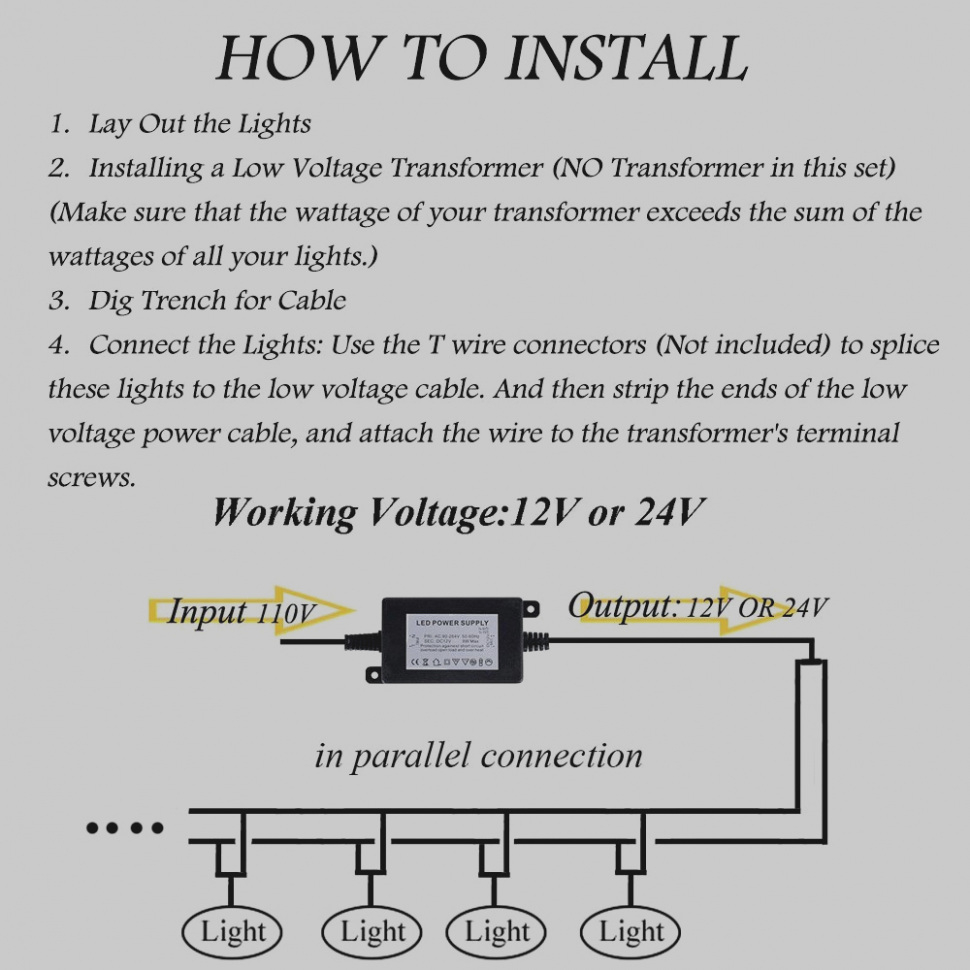 Landscape Lighting Diagram: Collection Of Low Voltage Landscape Lighting Wiring
