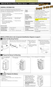 Motion Detector Wiring Diagram - Wiring Diagram for Outdoor Motion Detector Light Inspirational 8dl5800pir Od Security Transmitter User Manual 5890 Od Wireless 15o