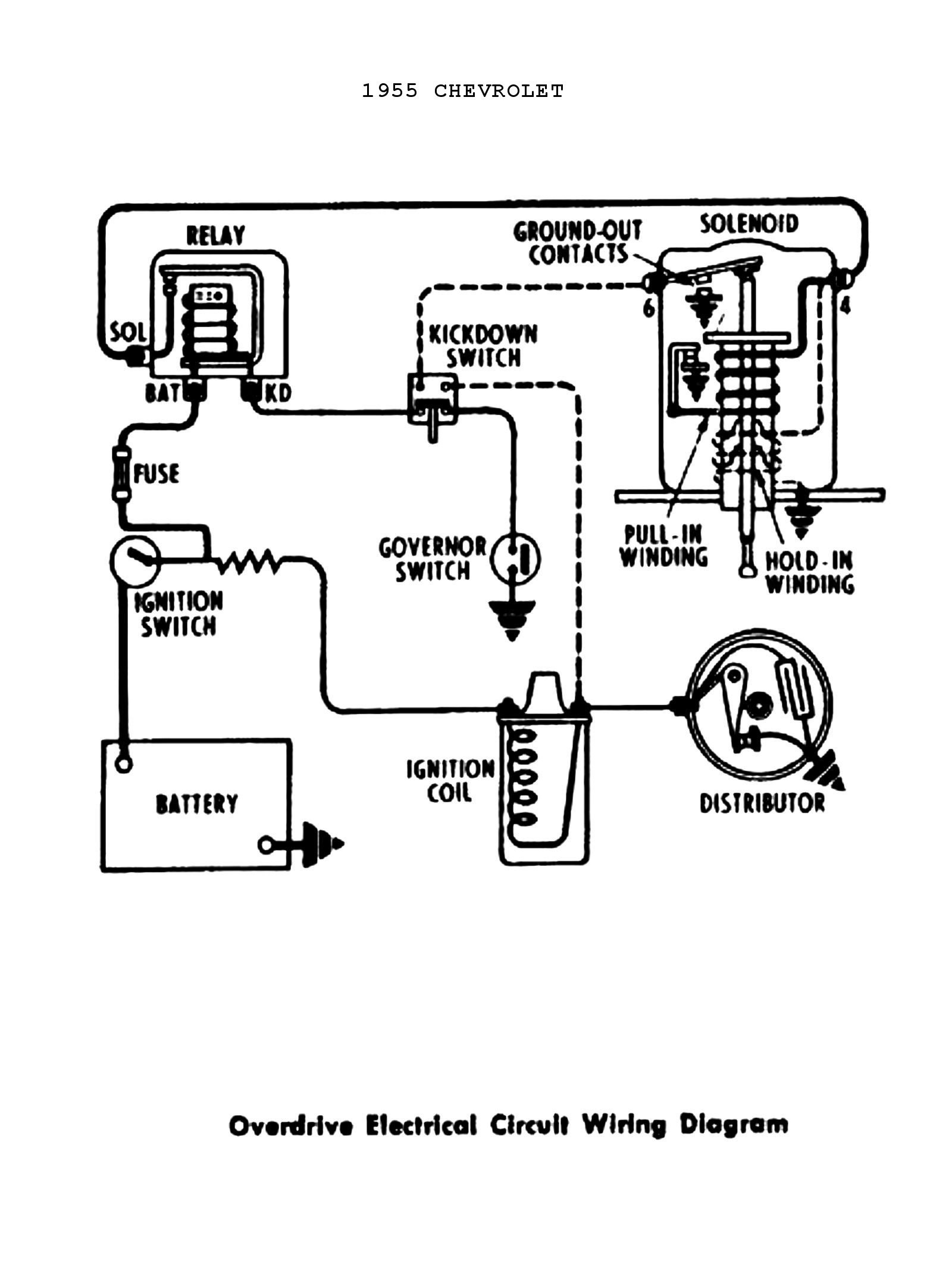 simple ignition wiring diagram Collection-Ignition Coil Wiring Diagram Collection 1955 Power Windows & Seats · 1955 Overdrive Circuit Chevy 2-b